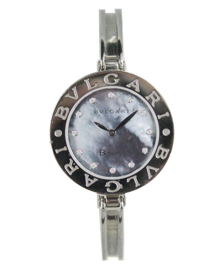 Bulgari Lady's Stainless Steel Diamond Markers B.Zero1 Quartz Wristwatch