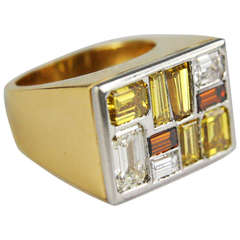 Fancy Colored Yellow, White, and Brown Diamond Ring
