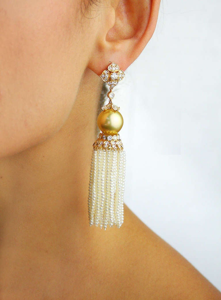 4.05 Carat Diamond and Golden South Sea Pearl Ear Clips with Removable Tassel 2