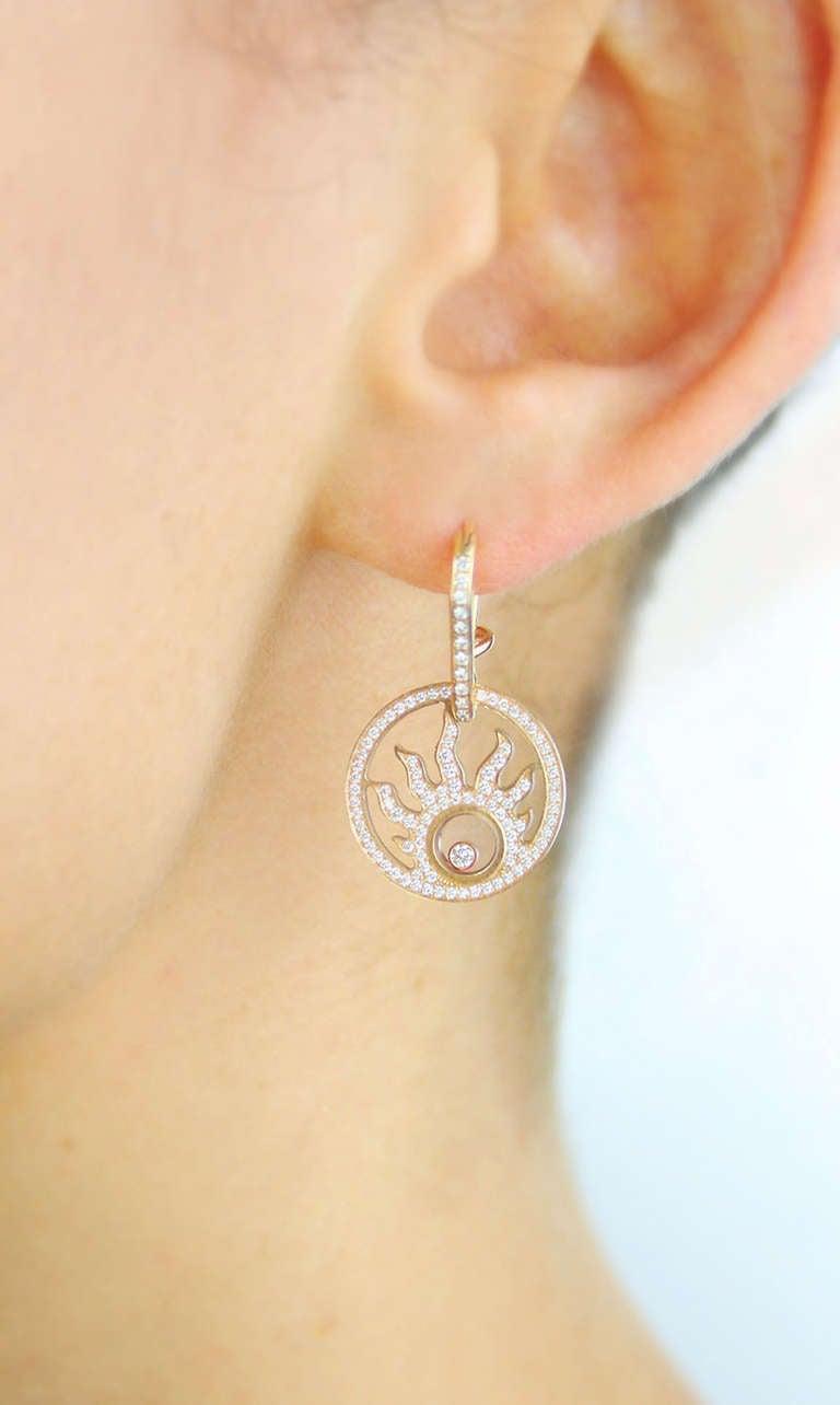 Chopard diamond earrings in rose gold.  Model #836981-5001 with original Chopard box. Original retail $20,080