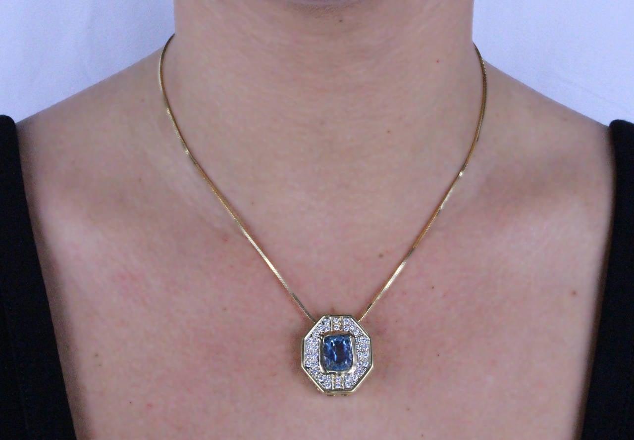 5.5 Carat Aquamarine & Diamond Gold Pendant Necklace 2