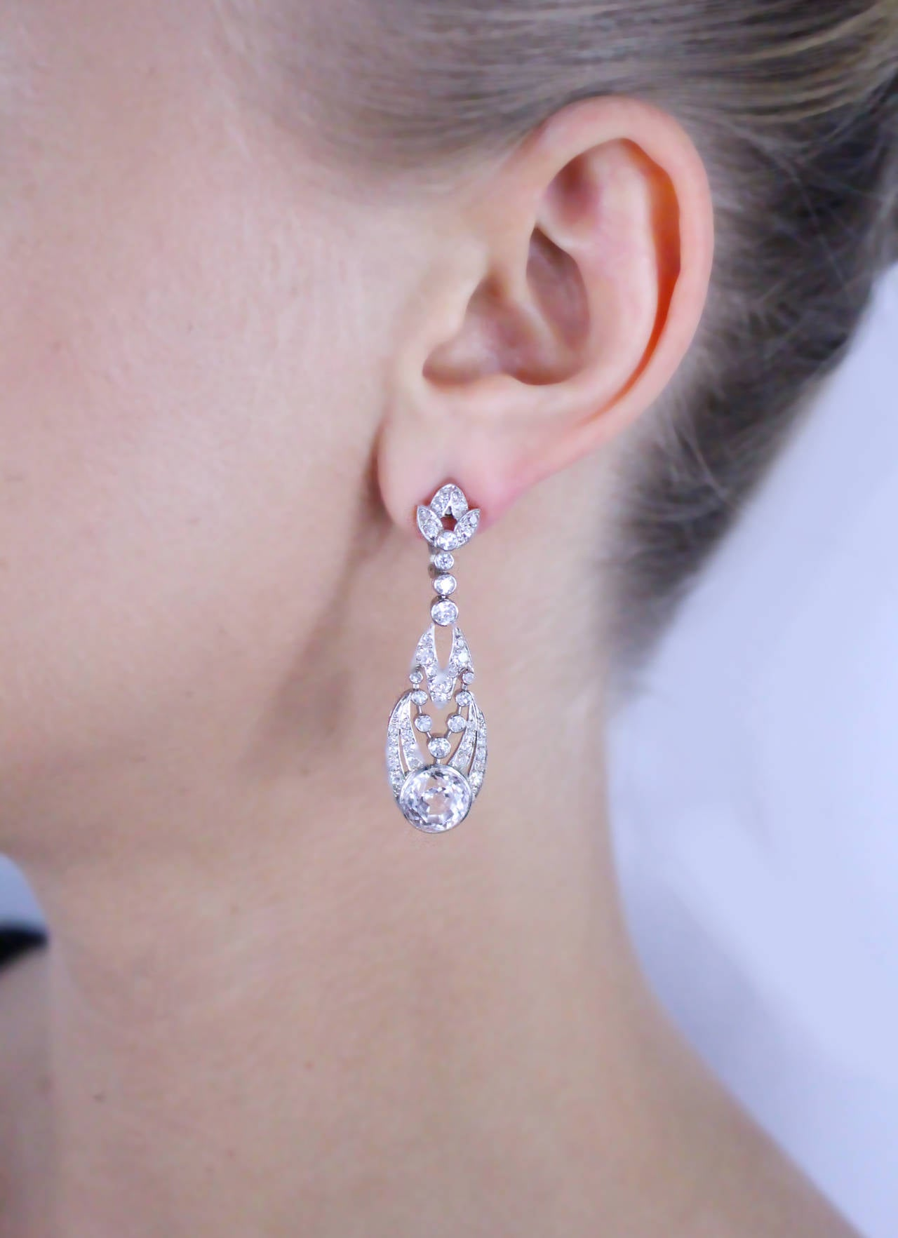 1900s Rose Quartz Diamond Platinum Ear Clips For Sale 1