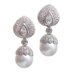 7.75 Carat Diamond and 14.4 MM Pearl Earrings with Detachable Bottoms