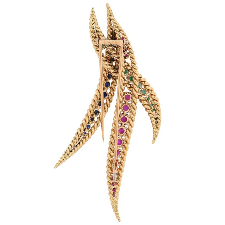 Women's 1980s Large Mauboussin Ruby Sapphire Emerald Yellow Gold Brooch For Sale