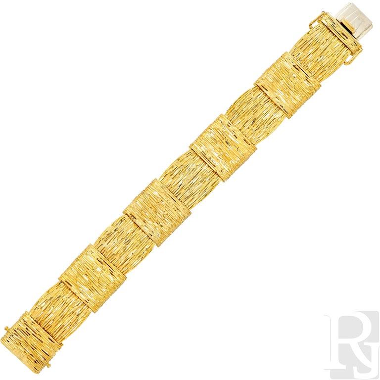 Cartier Wheat Motif 18 Karat Yellow Gold Bracelet For Sale 2
