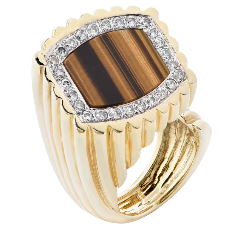 Le Triomphe Tiger's Eye, Diamond and Gold Ring