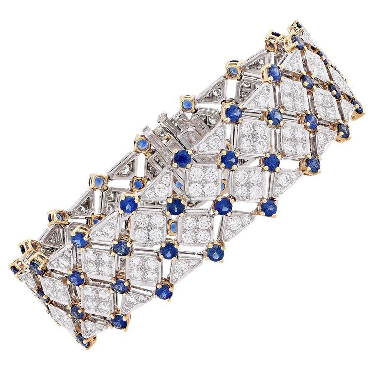 Tiffany & Co. Trellis Sapphire Diamond Gold Platinum Bracelet In Good Condition For Sale In Coral Gables, FL