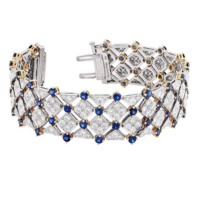 Women's Tiffany & Co. Trellis Sapphire Diamond Gold Platinum Bracelet For Sale