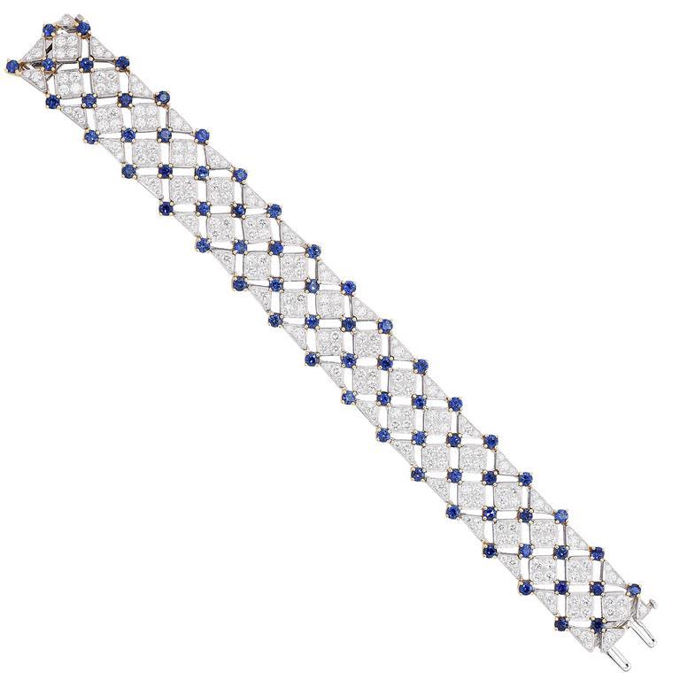 Tiffany & Co. Trellis Sapphire Diamond Gold Platinum Bracelet For Sale 1