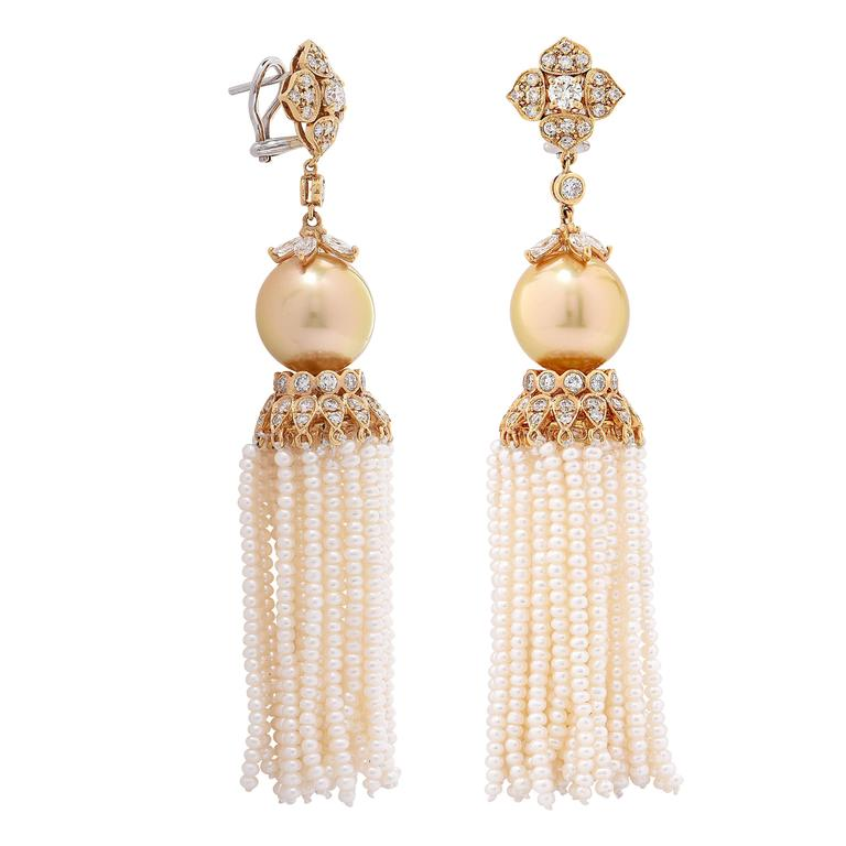 4.05 Carat Diamond and Golden South Sea Pearl Ear Clips with Removable Tassel 4