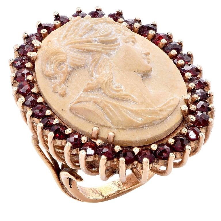Lava Cameo and Garnet Gold Ring. 1