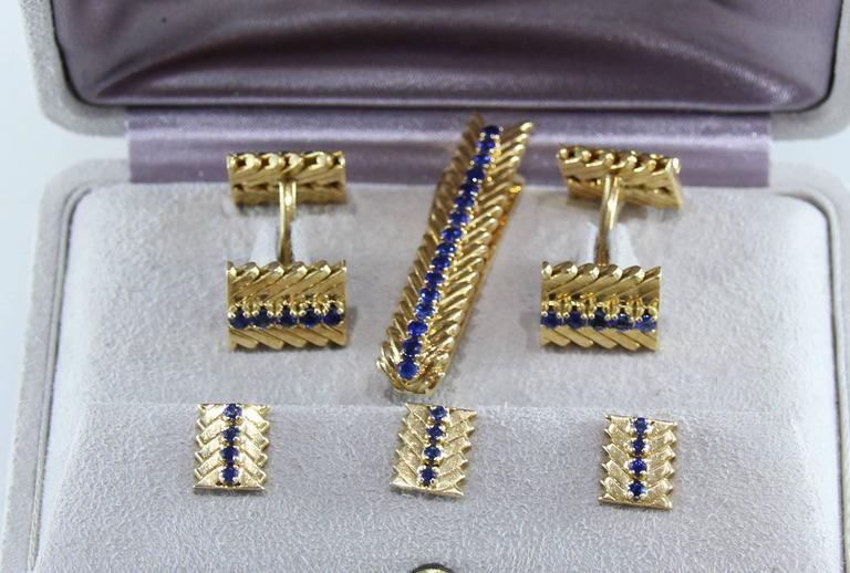 1950s Van Cleef & Arpels Sapphire Gold Dress Set  For Sale 4