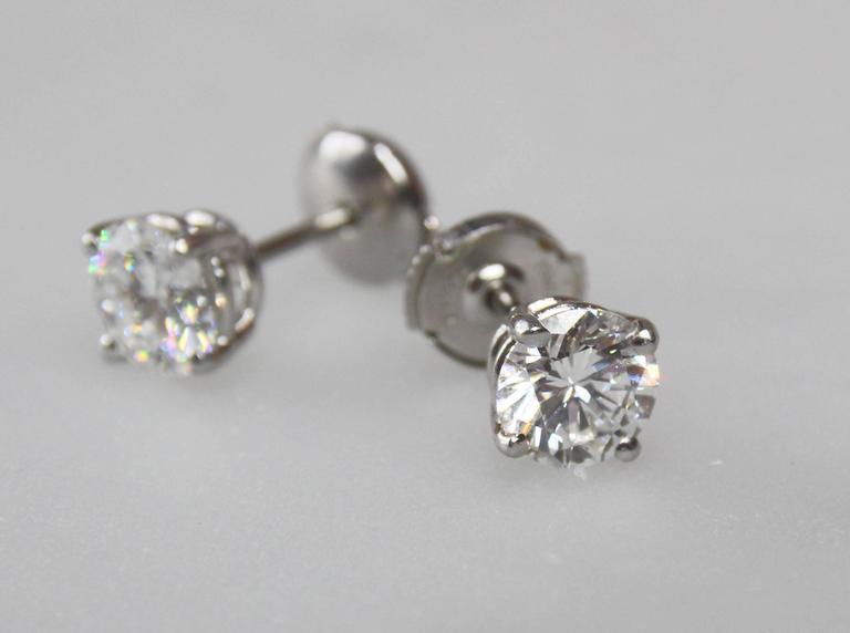 2.64 Carat GIA Certified Diamond Platinum Stud Earrings 4