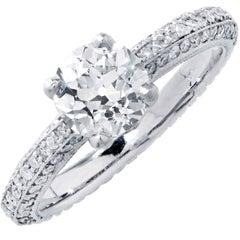 1.09 Carat GIA G/SI1 Old European Cut Diamond Platinum Ring, circa 1930