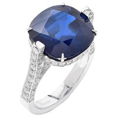 9.54 Carat Natural Sapphire Diamond Platinum Engagement Ring