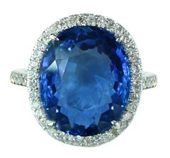 10.16 Carat AGL Cert Untreated Ceylon Sapphire Diamond Platinum Ring