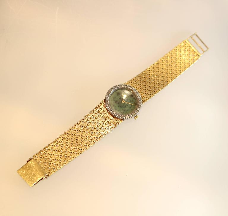 1970's Ebel Watch with Jade Dial and Diamond Bezel on a gold bracelet. In Fair Condition For Sale In Coral Gables, FL