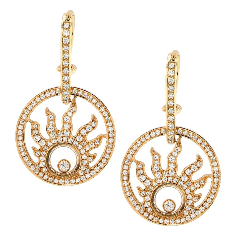 Chopard Diamond Gold Earrings In Excellent Condition For Sale In Coral Gables, FL