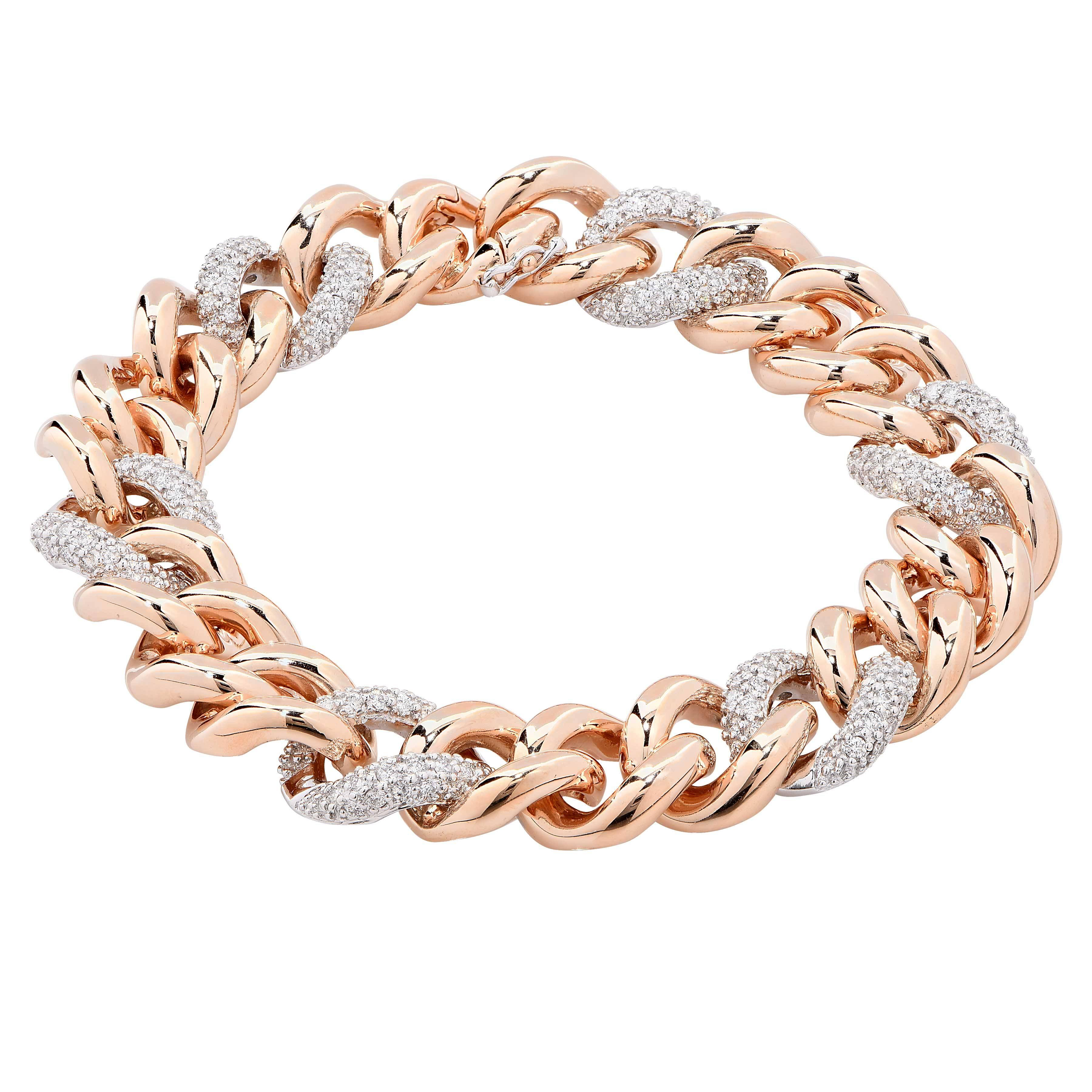 e7ed47e0584e0 Rina Limor 1.15 Carat Diamond Rose Gold Italian Curb Link Bracelet