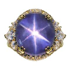 Henry Dunay Important Star Sapphire Diamond Gold Ring