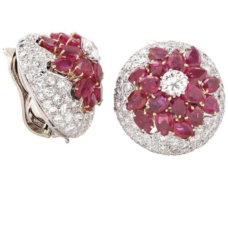 Modern Burmese Ruby and Diamond Earrings For Sale