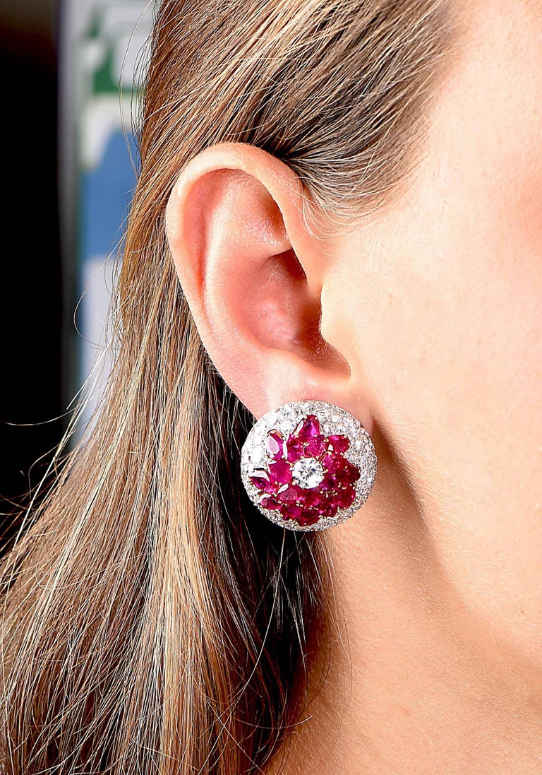 Burmese Ruby and Diamond Earrings In As new Condition For Sale In Coral Gables, FL
