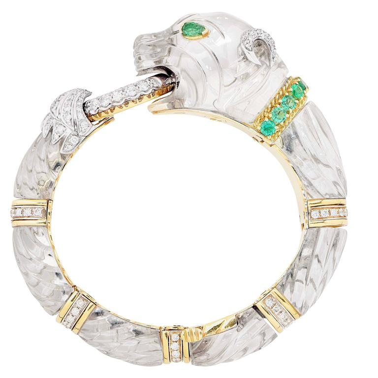 Women's Rock Crystal Emerald Diamond Gold Panther Bangle Bracelet For Sale