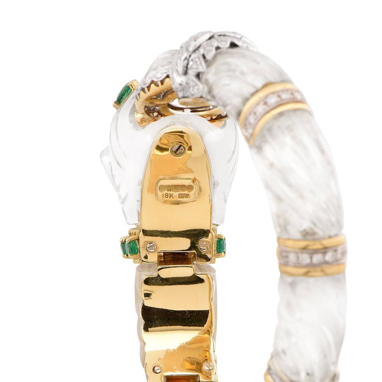Rock Crystal Emerald Diamond Gold Panther Bangle Bracelet For Sale 1