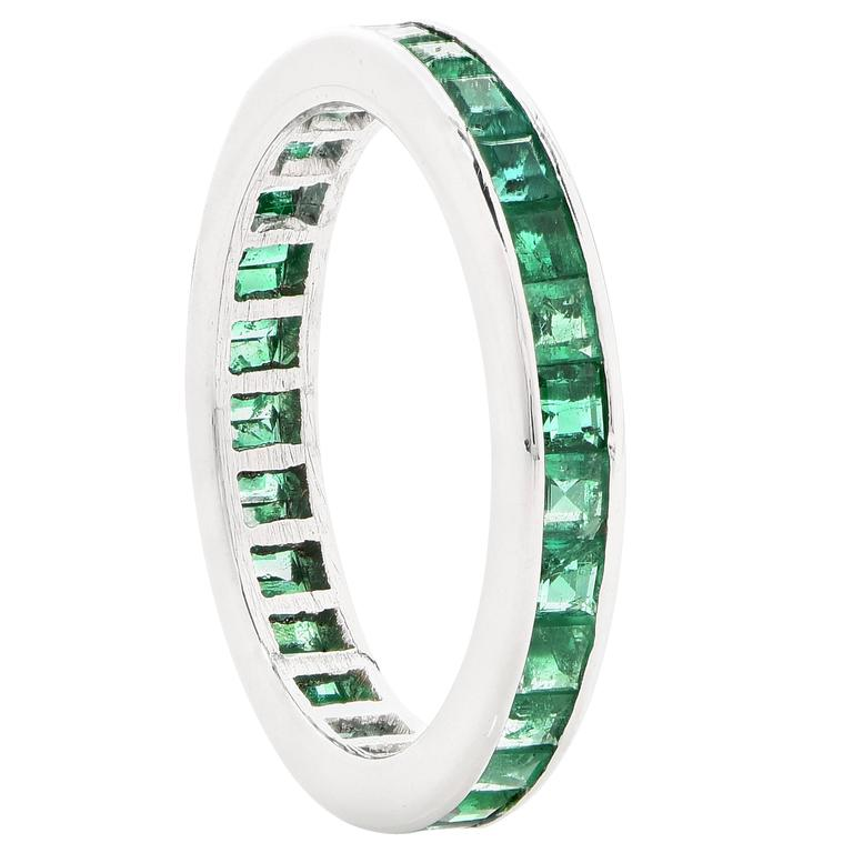 emerald white gold eternity band ring for sale at 1stdibs