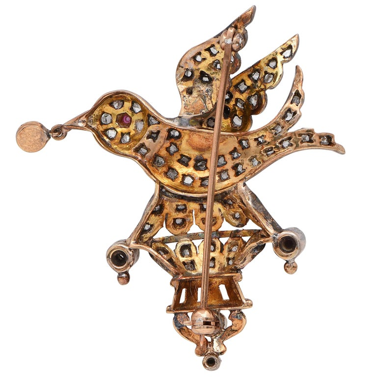Women's Victorian Bird Brooch with Rose Cut Diamonds Set in Silver-Topped Gold For Sale