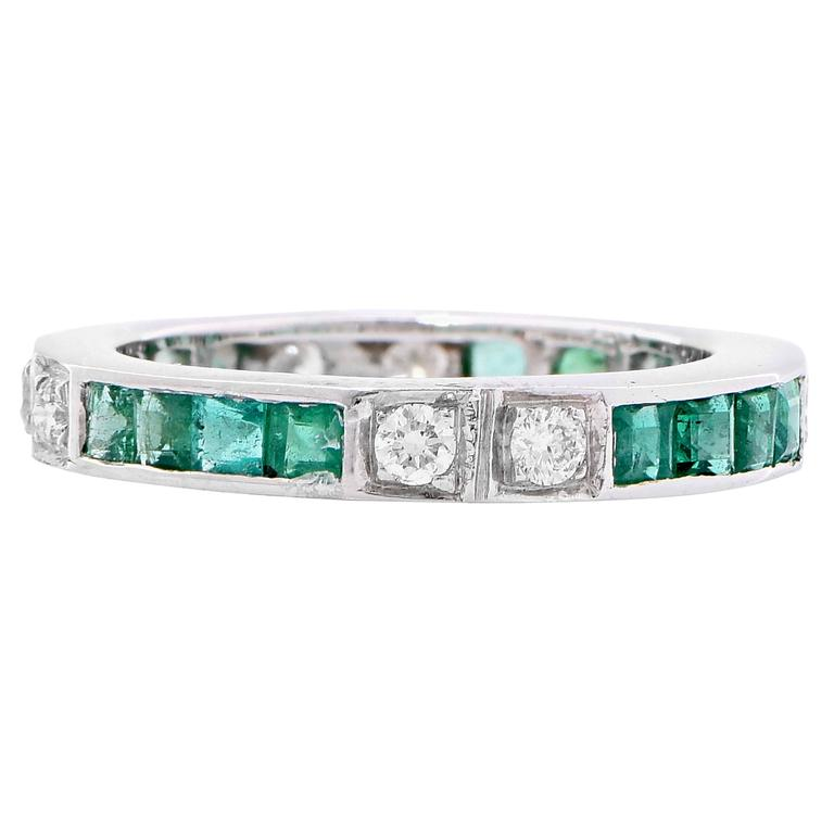 emerald white gold band ring for sale at 1stdibs