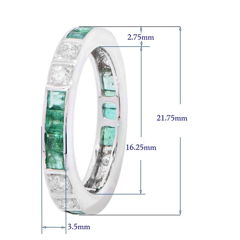 Emerald Diamond White Gold Band Ring 1