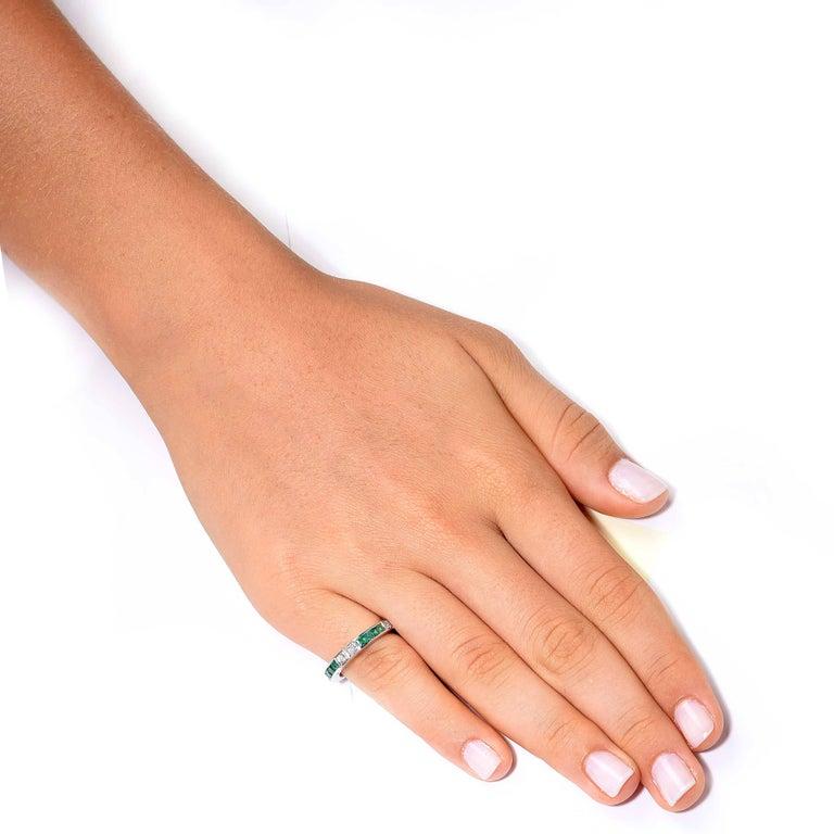 Emerald Diamond White Gold Band Ring 2