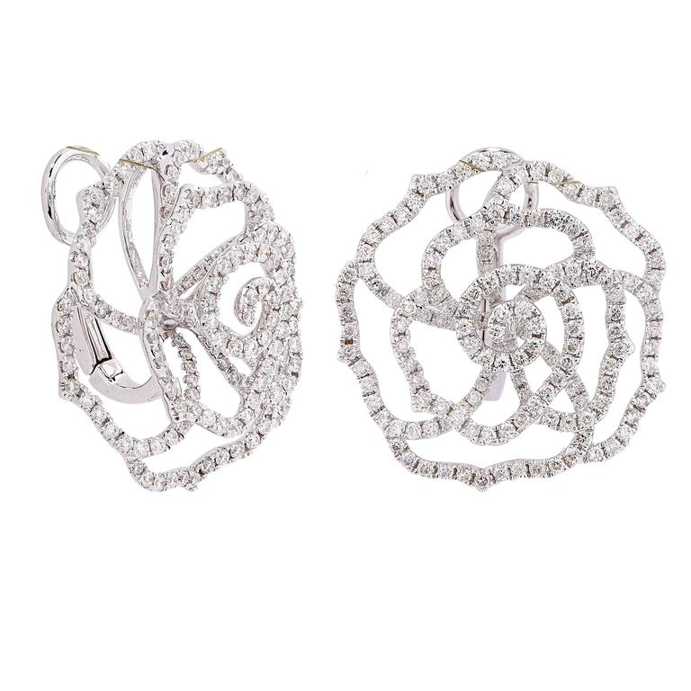 These Modern Rose Shaped Diamond Earrings Feature 348 Single Cut Diamonds With An Estimated Total Weight