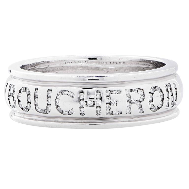 Women's or Men's Boucheron Diamond White Gold Wedding Band Ring For Sale