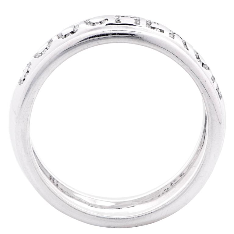 Boucheron Diamond White Gold Wedding Band Ring For Sale 1