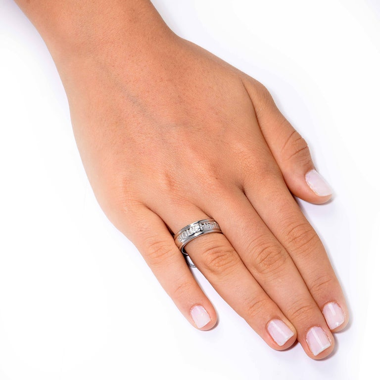 Classic Boucheron Diamond 18 Karat White Gold Wedding Band.  Ring Size: 8 1/2 (cannot be sized) Metal Type: 18 KT White Gold (stamped) Metal Weight: 7.8 grams