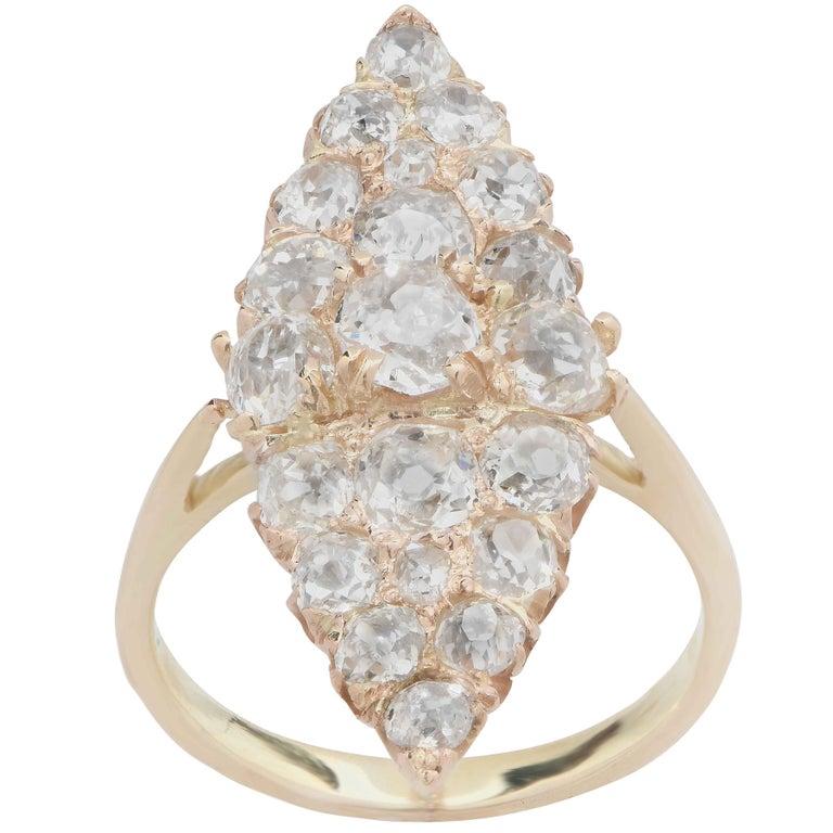 Edwardian 3 Carat Antique Old Mine Cut Diamond Ring in 18 Karat Yellow Gold