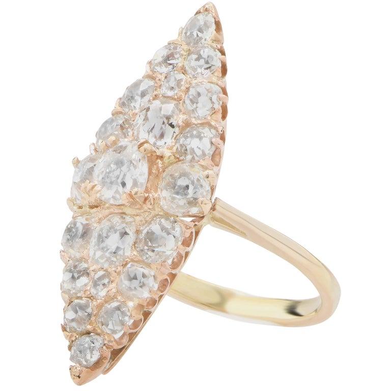 Men's 3 Carat Antique Old Mine Cut Diamond Ring in 18 Karat Yellow Gold