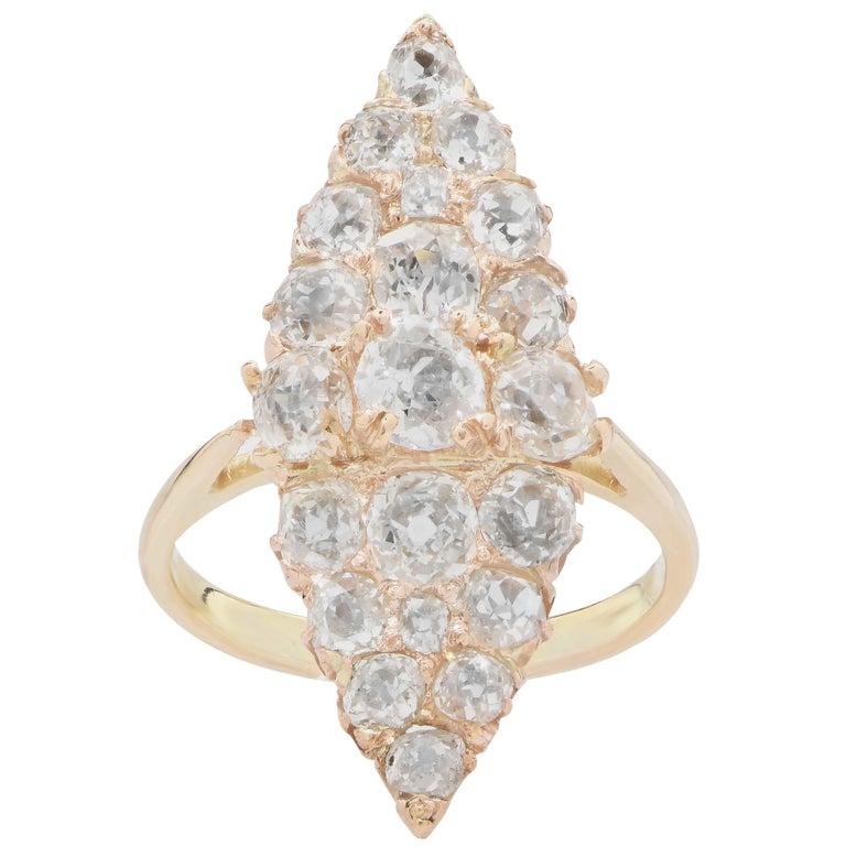 3 Carat Antique Old Mine Cut Diamond Ring in 18 Karat Yellow Gold 1