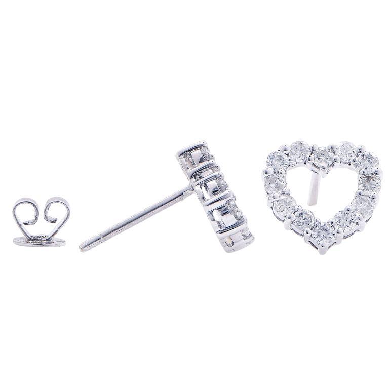 Trendy 75 Carat Heart Shape Diamond Stud Earrings Featuring 24 Round Cut Diamonds With An