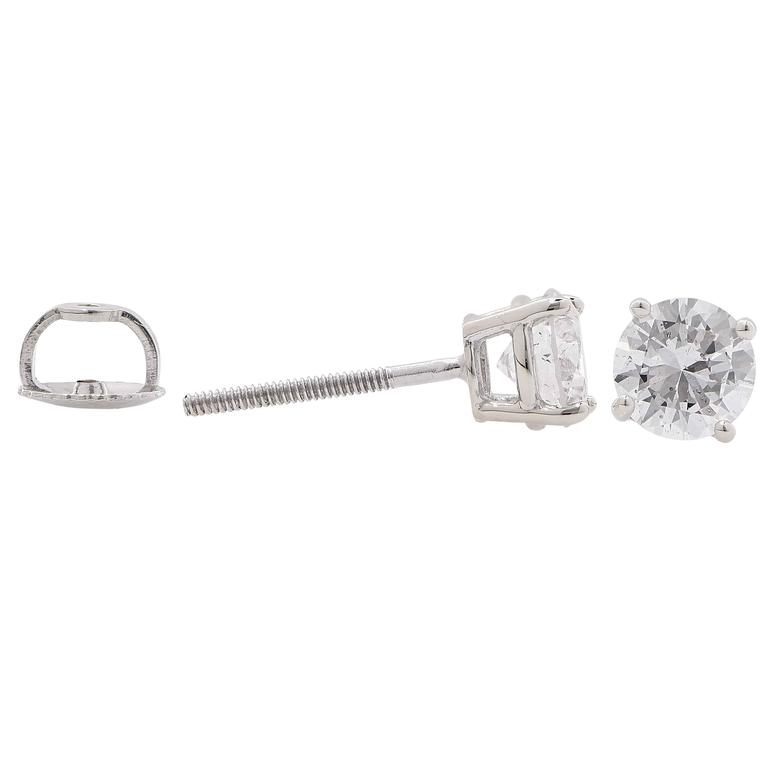 1 2 Carat Total Weight Diamond Stud Earrings Featuring Two Round Brilliant Cut Diamonds With A