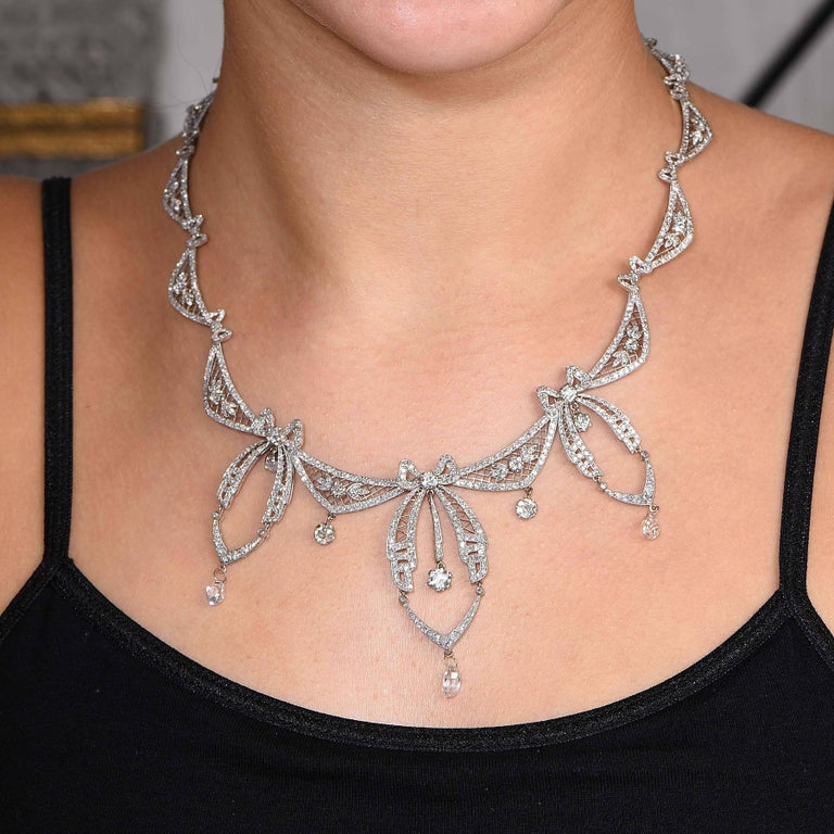 5.8 Carat Belle Époque Diamond Platinum Necklace In Excellent Condition For Sale In Coral Gables, FL