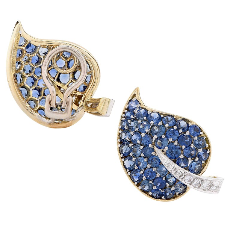 Van Cleef & Arpels Sapphire and Diamond Leaf Earrings In Excellent Condition For Sale In Coral Gables, FL