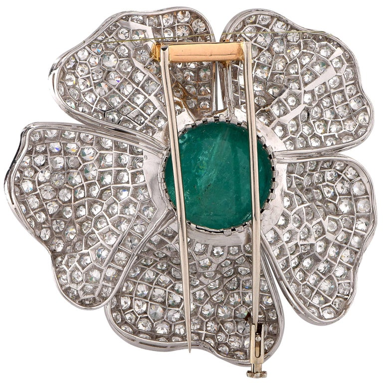 33.93 Carat Natural Cabochon Cut Emerald and 15 Carat Diamond Flower Brooch 3