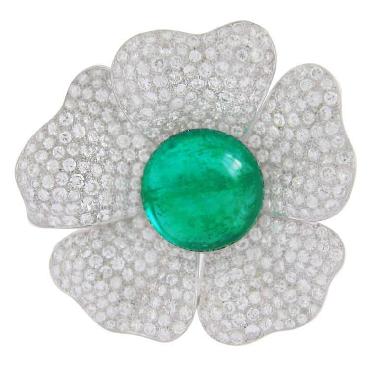 33.93 Carat Natural Cabochon Cut Emerald and 15 Carat Diamond Flower Brooch In Excellent Condition For Sale In Coral Gables, FL