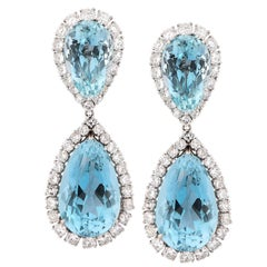 Natural Aquamarine and Diamond 18 Karat White Gold Earrings