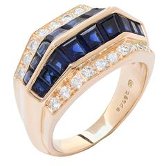 Oscar Heyman Sapphire Diamond 18 Karat Yellow Gold Ring