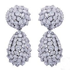 25 Carat Diamond Platinum Ear Clips