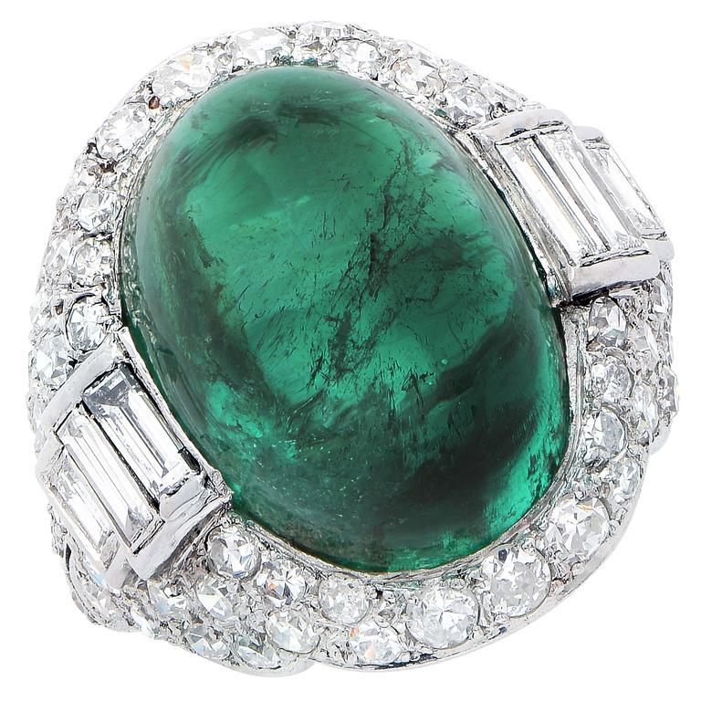 Art Deco 14.75 Carat Sugarloaf Cabochon Cut Colombian Emerald Diamond Ring 6